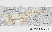 Shaded Relief Panoramic Map of Tachilek, desaturated