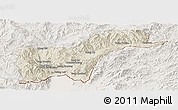 Shaded Relief Panoramic Map of Tachilek, lighten