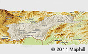 Shaded Relief Panoramic Map of Tachilek, physical outside