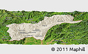 Shaded Relief Panoramic Map of Tachilek, satellite outside