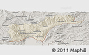 Shaded Relief Panoramic Map of Tachilek, semi-desaturated
