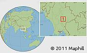 Savanna Style Location Map of Taunggyi