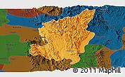 Political Panoramic Map of Ye-Ngan, darken