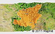 Political Panoramic Map of Ye-Ngan, satellite outside