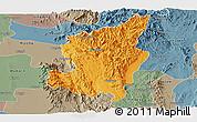 Political Panoramic Map of Ye-Ngan, semi-desaturated