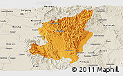 Political Panoramic Map of Ye-Ngan, shaded relief outside