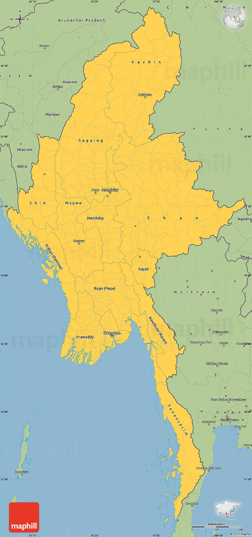 Savanna Style Simple Map Of Burma - Burma map