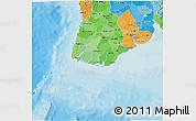 Political Shades 3D Map of Yangon (Rangoon)