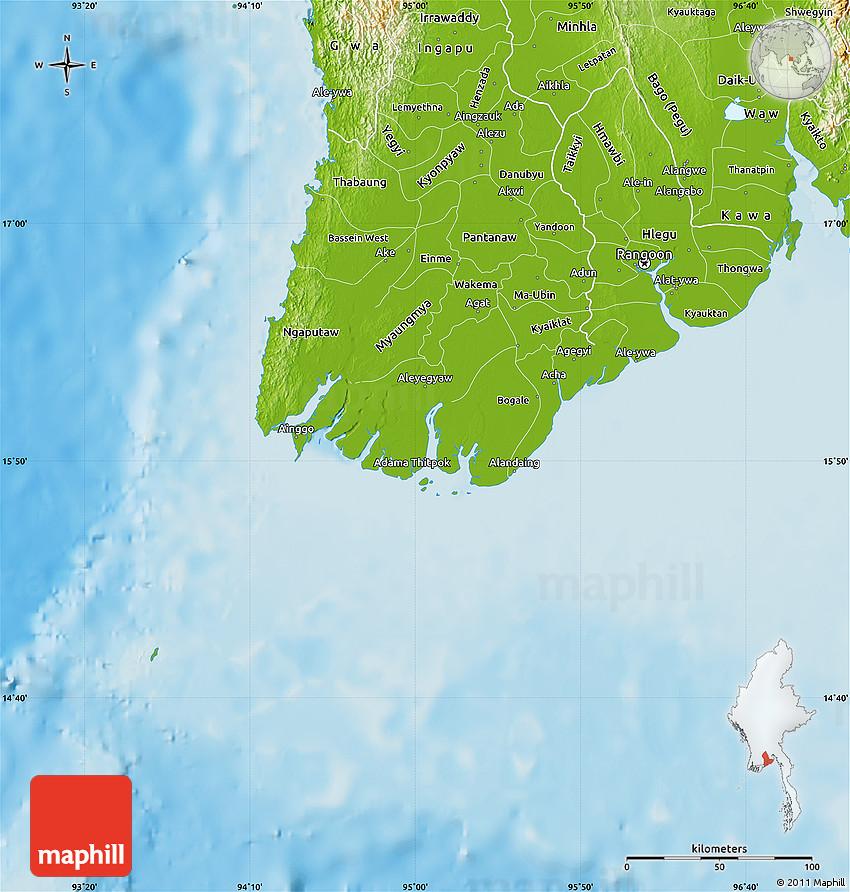 Physical Map of Yangon (Rangoon) on vientiane map, burma map, taiohae map, hanoi map, hong kong map, bumthang map, phnom penh, ho chi minh city, manila map, rangoon map, mekong river map, siem reap, jakarta map, islamabad map, bandar seri begawan map, great wall of china map, bangkok map, kuala lumpur, murang'a map, aung san suu kyi, burmese language, kuala lumpur map, taipei map, yangtze river map, naypyidaw map, myanmar map,