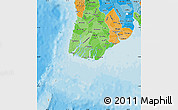 Political Shades Map of Yangon (Rangoon)