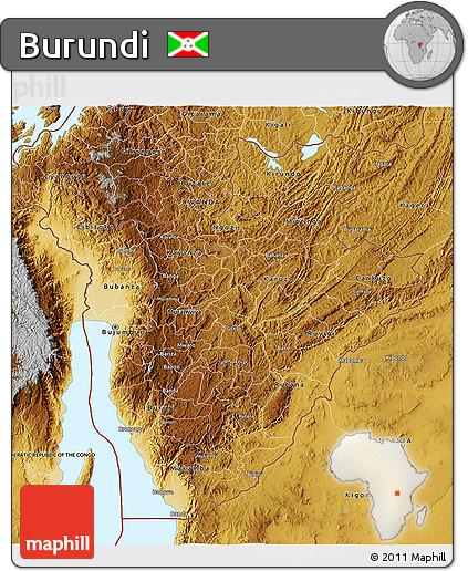Free Physical 3D Map of Burundi