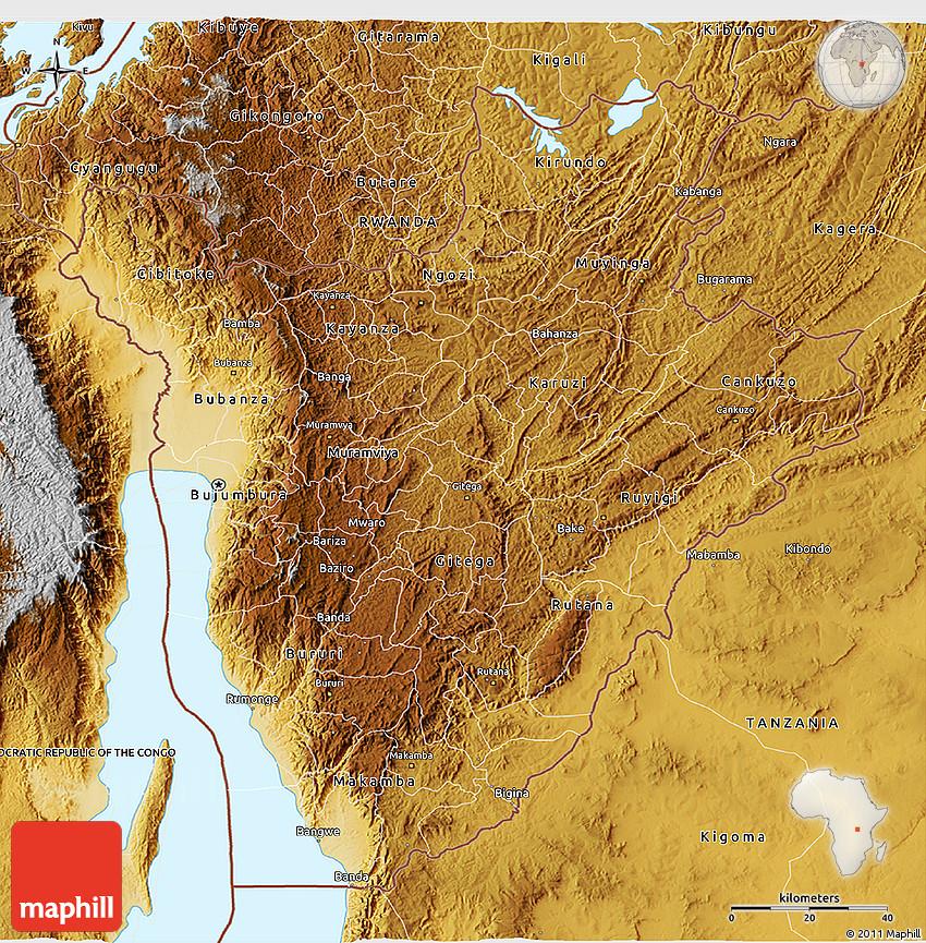 Physical 3D Map of Burundi
