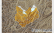 Physical Map of Kirundo, semi-desaturated