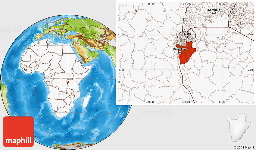 Physical Location Map of Burundi highlighted continent