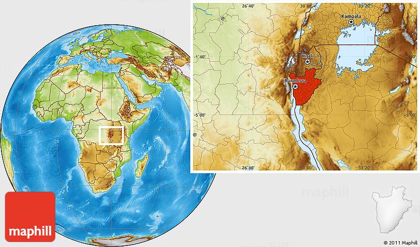 Physical Location Map of Burundi