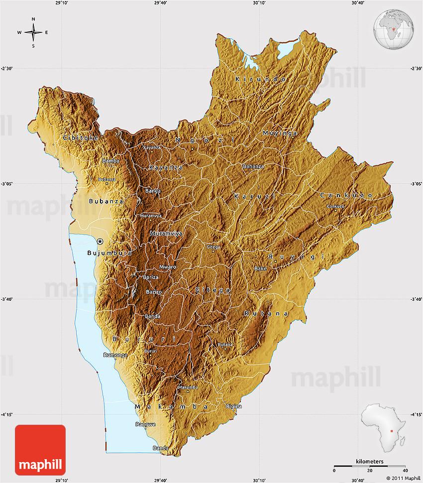Physical Map of Burundi cropped outside