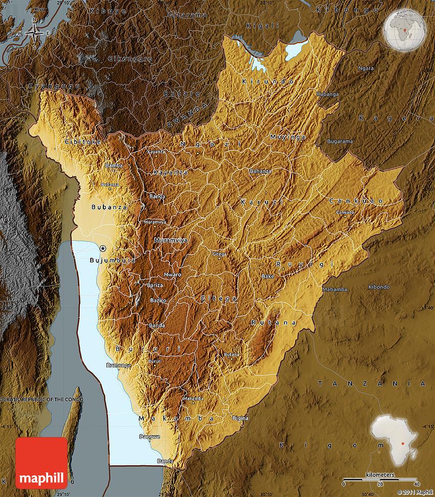 Physical Map of Burundi darken