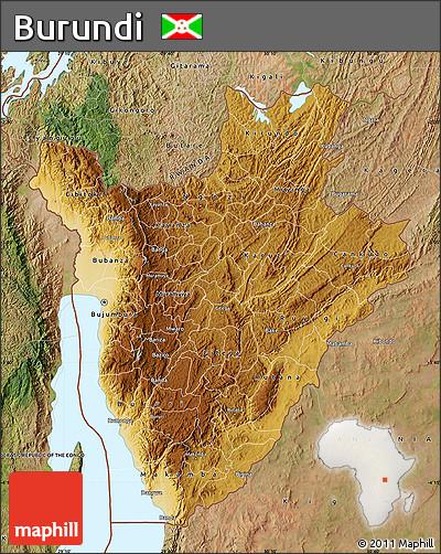 Free Physical Map of Burundi satellite outside