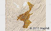 Physical 3D Map of Muyinga, lighten