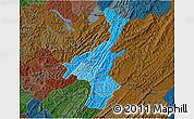 Political Shades 3D Map of Muyinga, darken