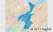 Political Shades 3D Map of Muyinga, lighten