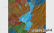 Political Shades Map of Muyinga, darken