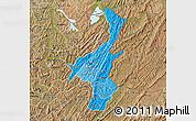 Political Shades Map of Muyinga, satellite outside