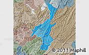 Political Shades Map of Muyinga, semi-desaturated