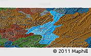 Political Shades Panoramic Map of Muyinga, darken