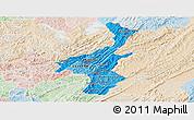 Political Shades Panoramic Map of Muyinga, lighten
