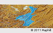 Political Shades Panoramic Map of Muyinga, physical outside