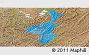 Political Shades Panoramic Map of Muyinga, satellite outside