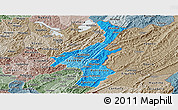 Political Shades Panoramic Map of Muyinga, semi-desaturated