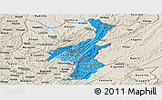 Political Shades Panoramic Map of Muyinga, shaded relief outside