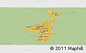 Savanna Style Panoramic Map of Muyinga, single color outside