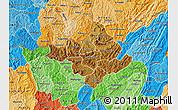 Physical Map of Ngozi, political shades outside