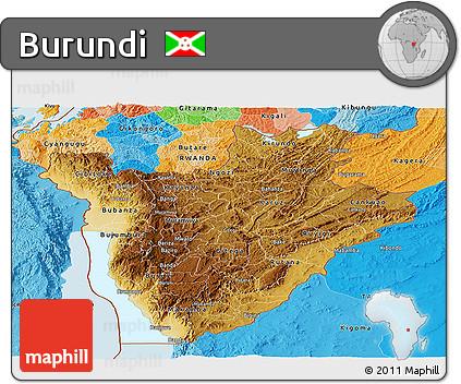 Free Physical Panoramic Map of Burundi political outside shaded