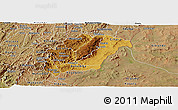 Physical Panoramic Map of Rutana, satellite outside