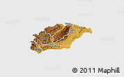 Physical Panoramic Map of Rutana, single color outside