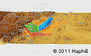 Political Panoramic Map of Rutana, physical outside