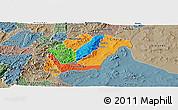 Political Panoramic Map of Rutana, semi-desaturated