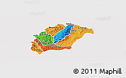 Political Panoramic Map of Rutana, single color outside