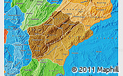 Physical Map of Ruyigi, political shades outside
