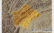 Physical Map of Ruyigi, semi-desaturated