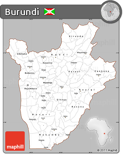 Gray Simple Map of Burundi, cropped outside