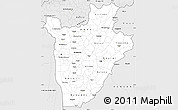 Silver Style Simple Map of Burundi