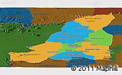 Political Panoramic Map of Banteay Meanchey, darken
