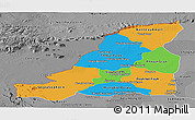 Political Panoramic Map of Banteay Meanchey, desaturated