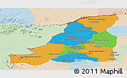 Political Panoramic Map of Banteay Meanchey, lighten