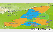 Political Panoramic Map of Banteay Meanchey, physical outside